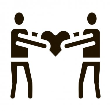 Human Share Heart glyph icon vector. Human Share Heart Sign. isolated symbol illustration icon