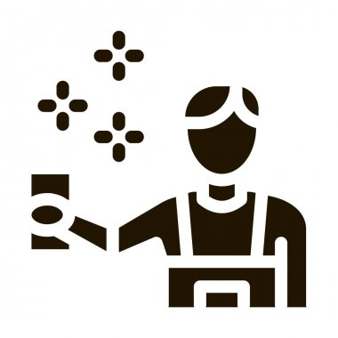 Human Cleaning glyph icon vector. Human Cleaning Sign. isolated symbol illustration icon