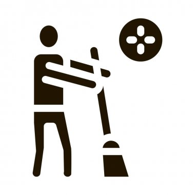 Human Sweeping glyph icon vector. Human Sweeping Sign. isolated symbol illustration icon