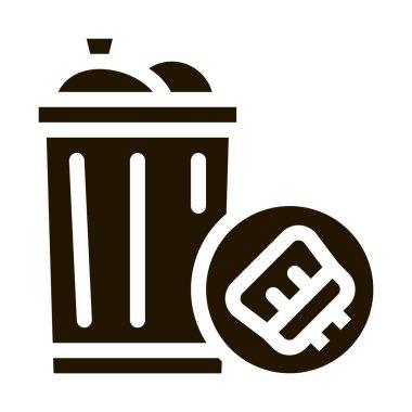 Rubbish Trash Can glyph icon vector. Rubbish Trash Can Sign. isolated symbol illustration icon