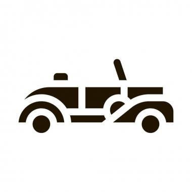 Old Car Cabriolet glyph icon vector. Old Car Cabriolet Sign. isolated symbol illustration icon