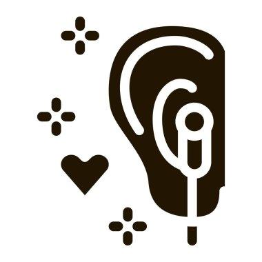 Enjoying Music on Headphones glyph icon vector. Enjoying Music on Headphones Sign. isolated symbol illustration icon