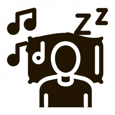 Fall Asleep to Music glyph icon vector. Fall Asleep to Music Sign. isolated symbol illustration icon
