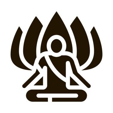 Shaman of Meditation glyph icon vector. Shaman of Meditation Sign. isolated symbol illustration icon