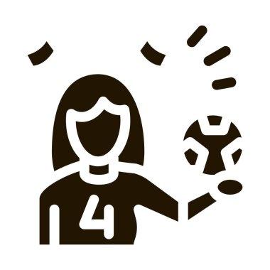 Woman Football Cheerleader glyph icon vector. Woman Football Cheerleader Sign. isolated symbol illustration icon