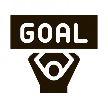 Man with Sign Goal glyph icon vector. Man with Sign Goal Sign. isolated symbol illustration icon