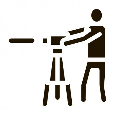 Worker Measuring Landscape Icon Vector. Engineer Human With Topography Measuring Equipment Pictogram. Monochrome Sign isolated symbol illustration icon