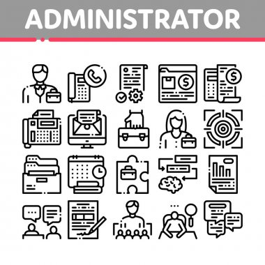 Administrator Business Collection Icons Set Vector. Analyzing And Researching Chart, People Administrator Occupation, Interview And Purchases Concept Linear Pictograms. Monochrome Contour icon