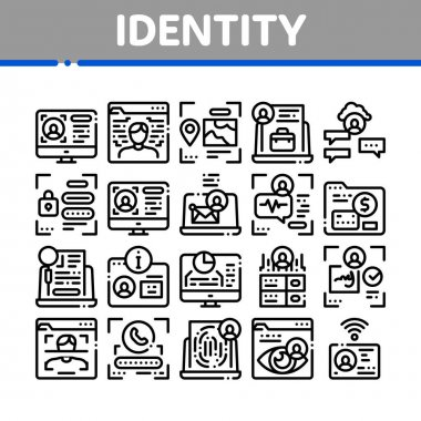 Digital Identity User Collection Icons Set Vector. Electronic Signature And Face Scanning, Eye And Finger Print Identity For Access Concept Linear Pictograms. Monochrome Contour Illustrations icon