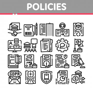 Policies Data Process Collection Icons Set Vector. Document And Paper, Contract And Strategy, Law And Company, Insurance And Quality Policies Concept Linear Pictograms. Monochrome Contour icon