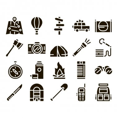 Adventure Collection Elements Icons Set Vector Thin Line. Binocular And Camera, Map And Boat, Ax And Knife, Camping Fire And Car Adventure Glyph Pictograms Black Illustrations icon