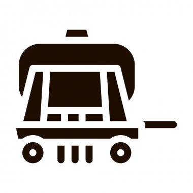 Cargo Water Trailer Vehicle Vector Icon. Agricultural Transport Liquid Trailer Machinery Pictogram. Delivery Machine, Combine Monochrome Illustration icon