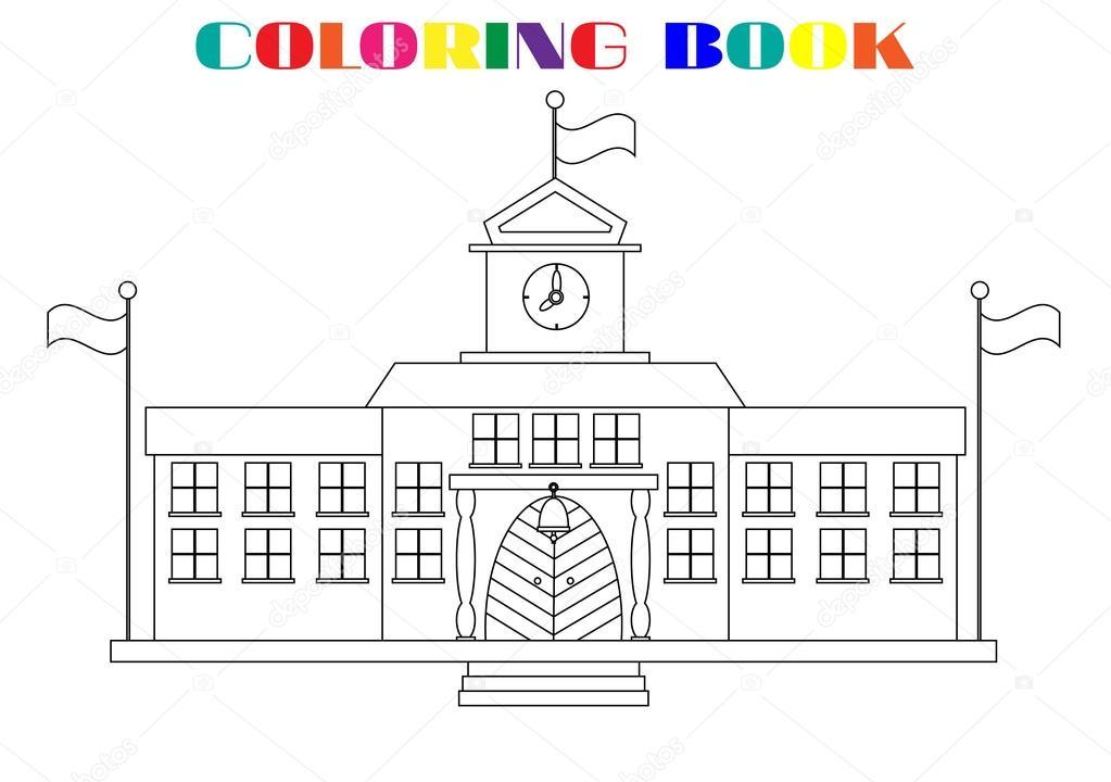 Imagen de los edificios escolares - libro para colorear — Vector de ...