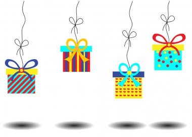 Birthday card with hanging four colorful gifts with huge bows