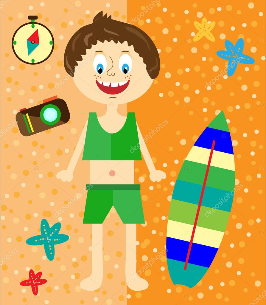 Holidays card with small, smiling, sunbather boy in swimsuit starfish, surf board, sandy beach