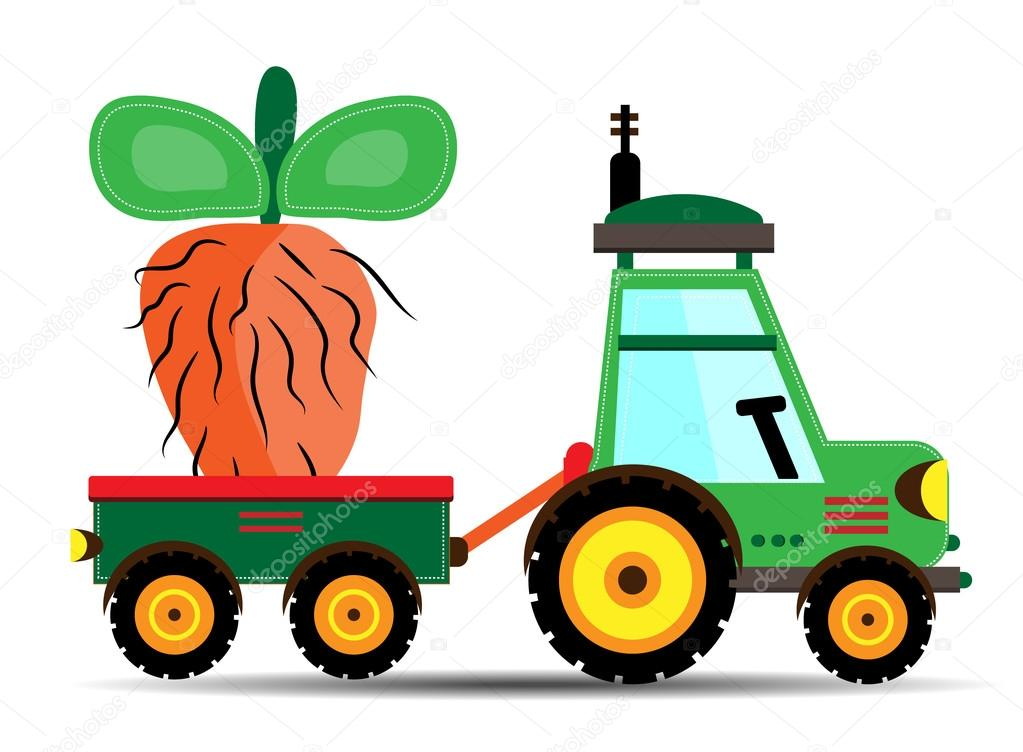 Green tractor with huge, orange beet
