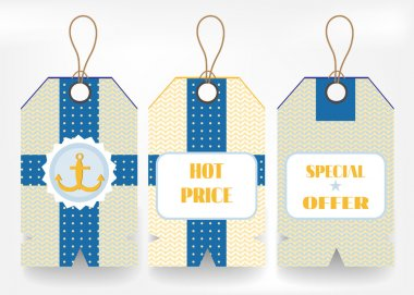 Card with set of three colorful - yellow, blue - stickers with text Hot Price, Special Offer