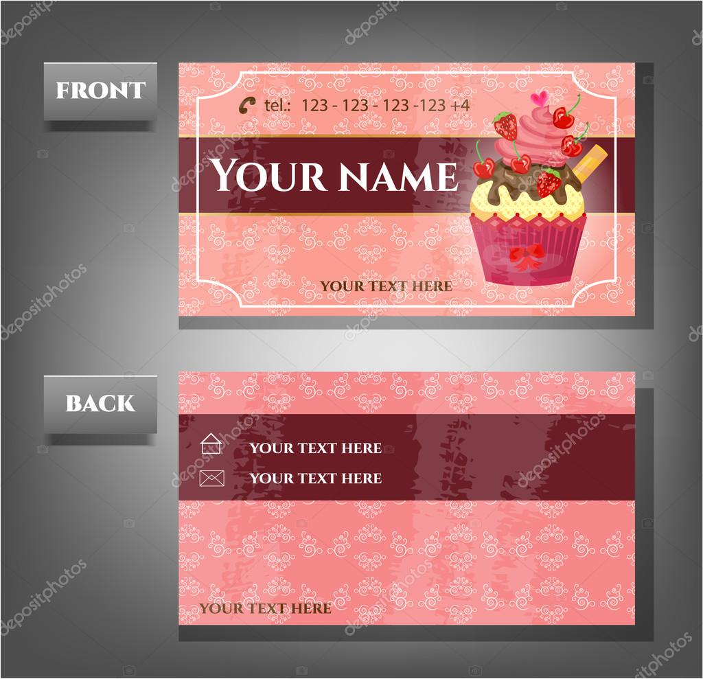 Romantic business card front back with cupcake stock vector one modern business card with cupcake and pattern vector by awagraphicarts magicingreecefo Images
