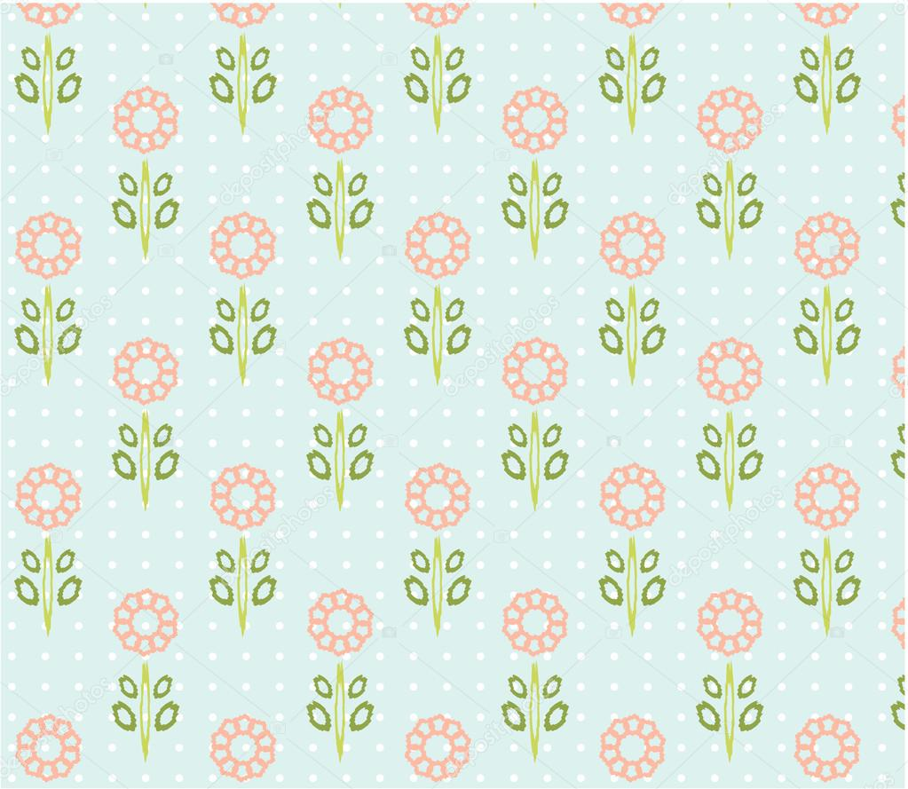 Vintage natural, seamless patterns with pink flowers with green leaves, white dots, blue background, retro design