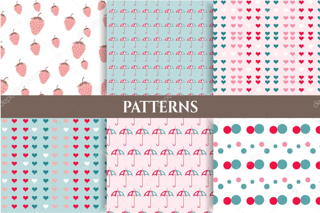 Set, collection of six romantic, blue, pink, seamless patterns with strawberries, dots, hearts, umbrellas