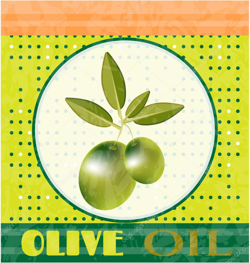Vintage card with green twig with olives and leaves, text Olive Oil, dotted background, retro design, grunge