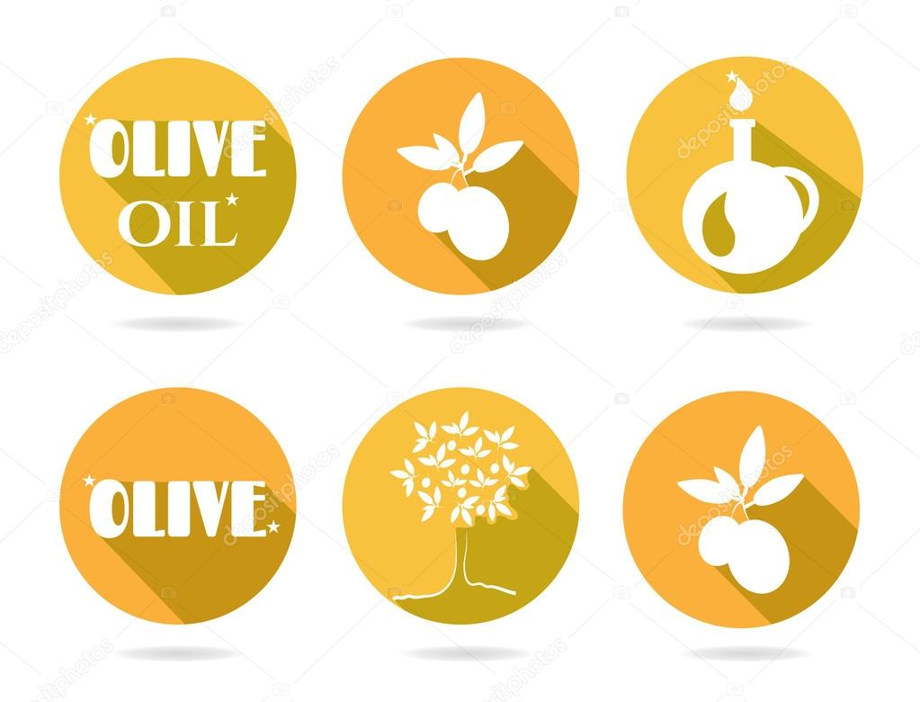 Set, group, collection of six orange, retro, isolated, round icons, labels, stickers with text Olive Oil, Oil, white twig with olives and leaves, olive tree, carafe, white background, long shadow