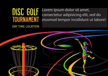 Disc golf or Frolf sports banner template. Woman throwing frisbee into a basket on black background