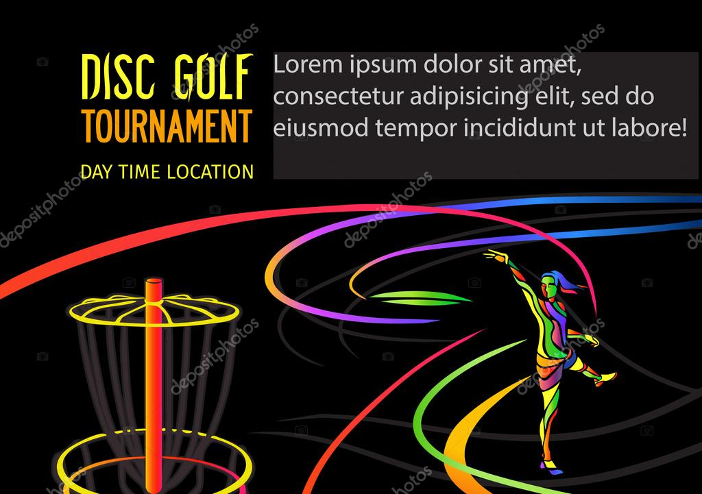 disc golf or frolf sports banner template woman throwing frisbee