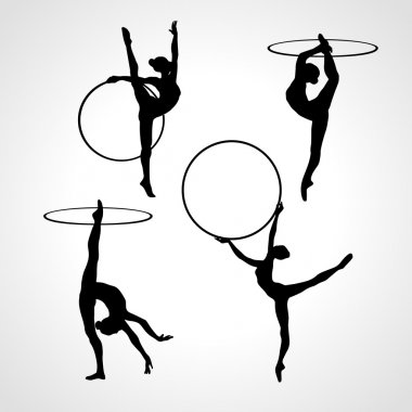 Gymnastic girls with hoops silhouettes collection. Art gymnastics vector set
