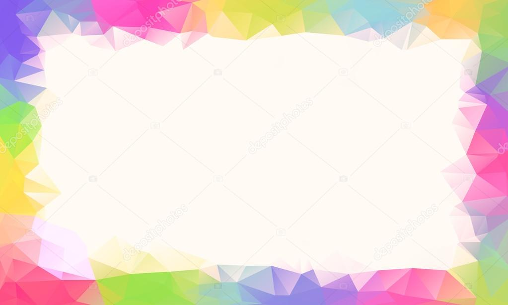 Marco de fondo o vector de polígono arco iris colorido — Vector de ...