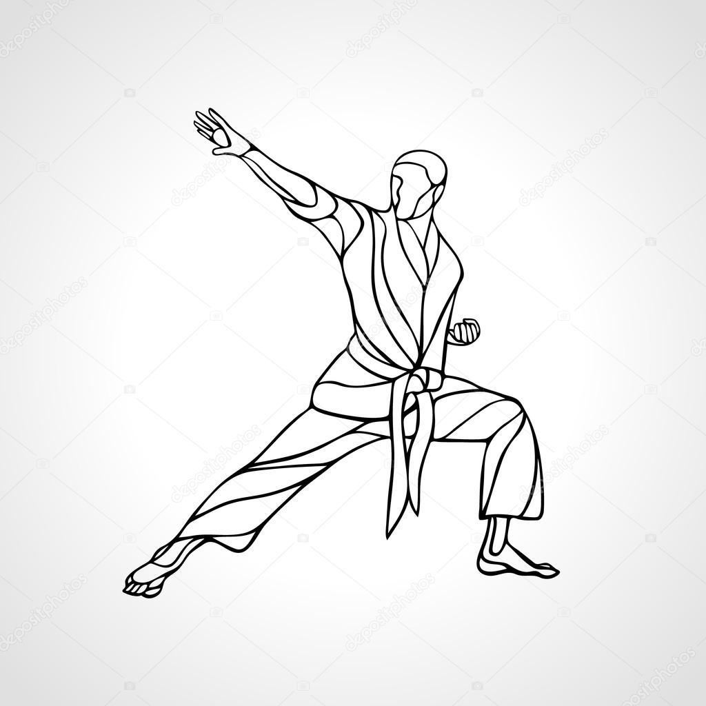 Las artes marciales representan la silueta combate de karate vector de sto - Saint maclou pose gratuite ...