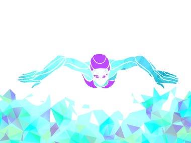 Breaststroke Swimmer Female Silhouette. Sport swimming