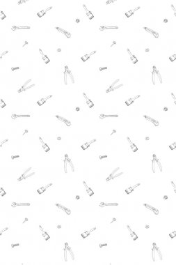 Doodle style tools background - seamless vector pattern.