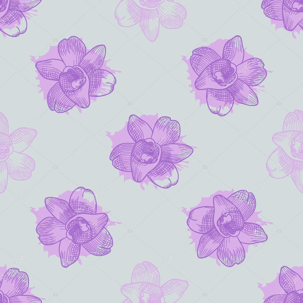 Vintage floral seamless pattern with hand drawn orchids