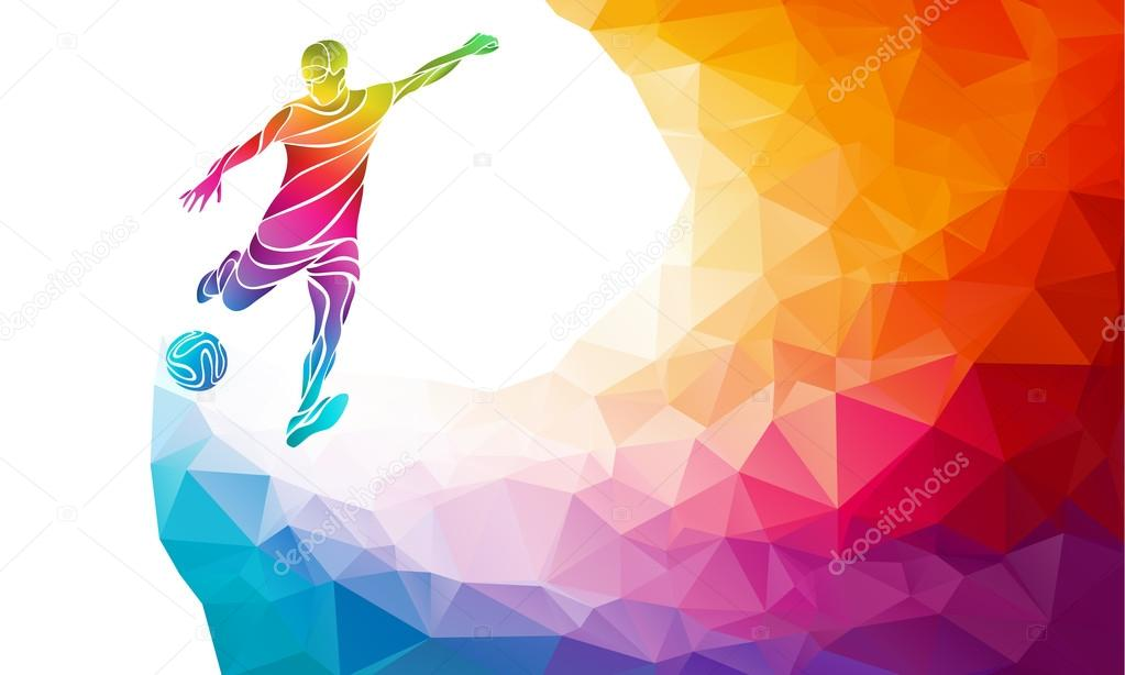 Creative silhouette of soccer player. Football player kicks the ball in trendy abstract colorful polygon rainbow back