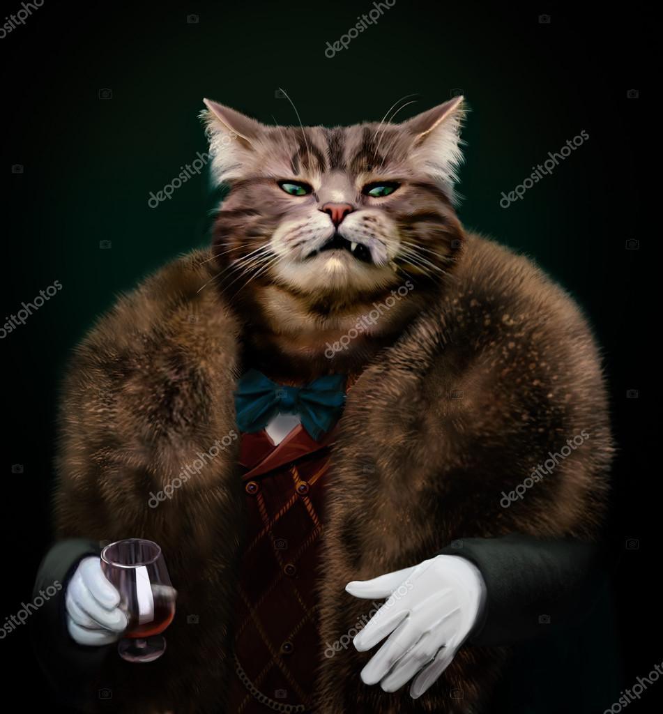 Patron chat habillé sophistiqué arrogant, regardant avec