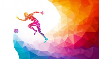 Soccer player. Footballer kicks the ball in trendy abstract colorful polygon style with rainbow back