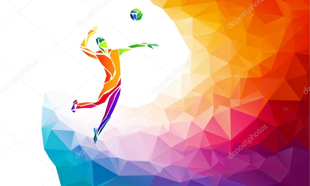 Illustration Abstract Volleyball Player Silhouette: Creative Silhouette Of Volleyball Player. Team Sport