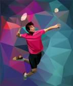 Fotografie Kreativní trojúhelník styl badmintonový hráč