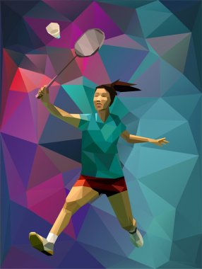 Abstract triangle style female professional badminton player doing smash
