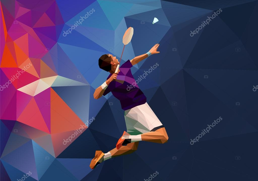 Creative triangle style professional badminton player