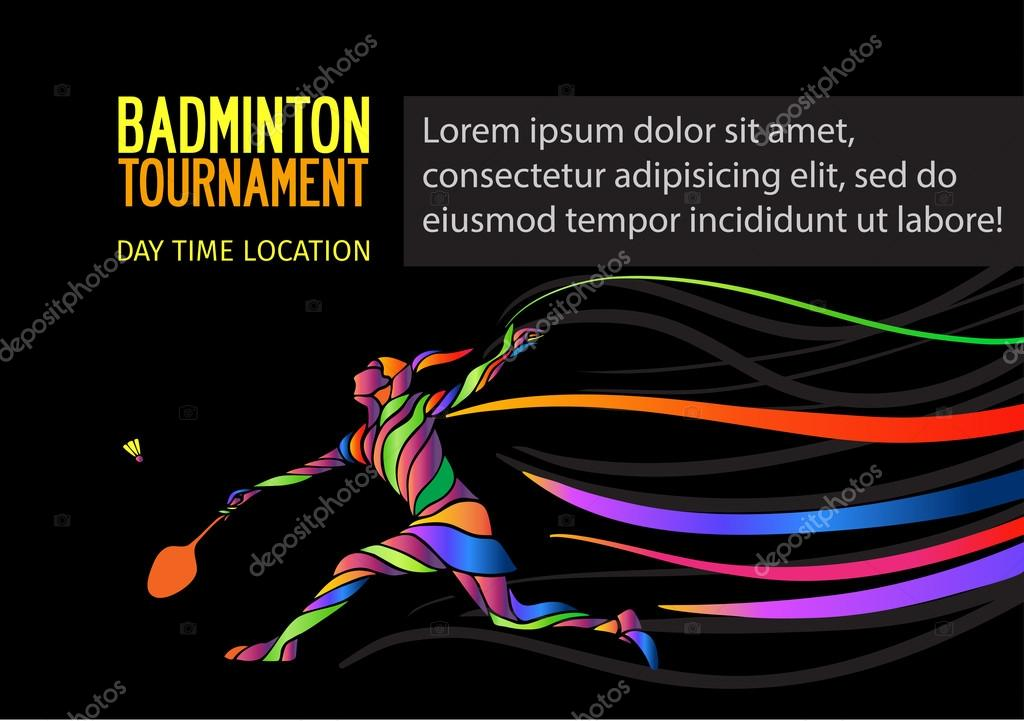Badminton sport invitation poster or flyer background with empty space, banner template