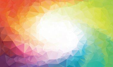 Colorful rainbow polygon background or vector frame. Rainbow colors clip art vector
