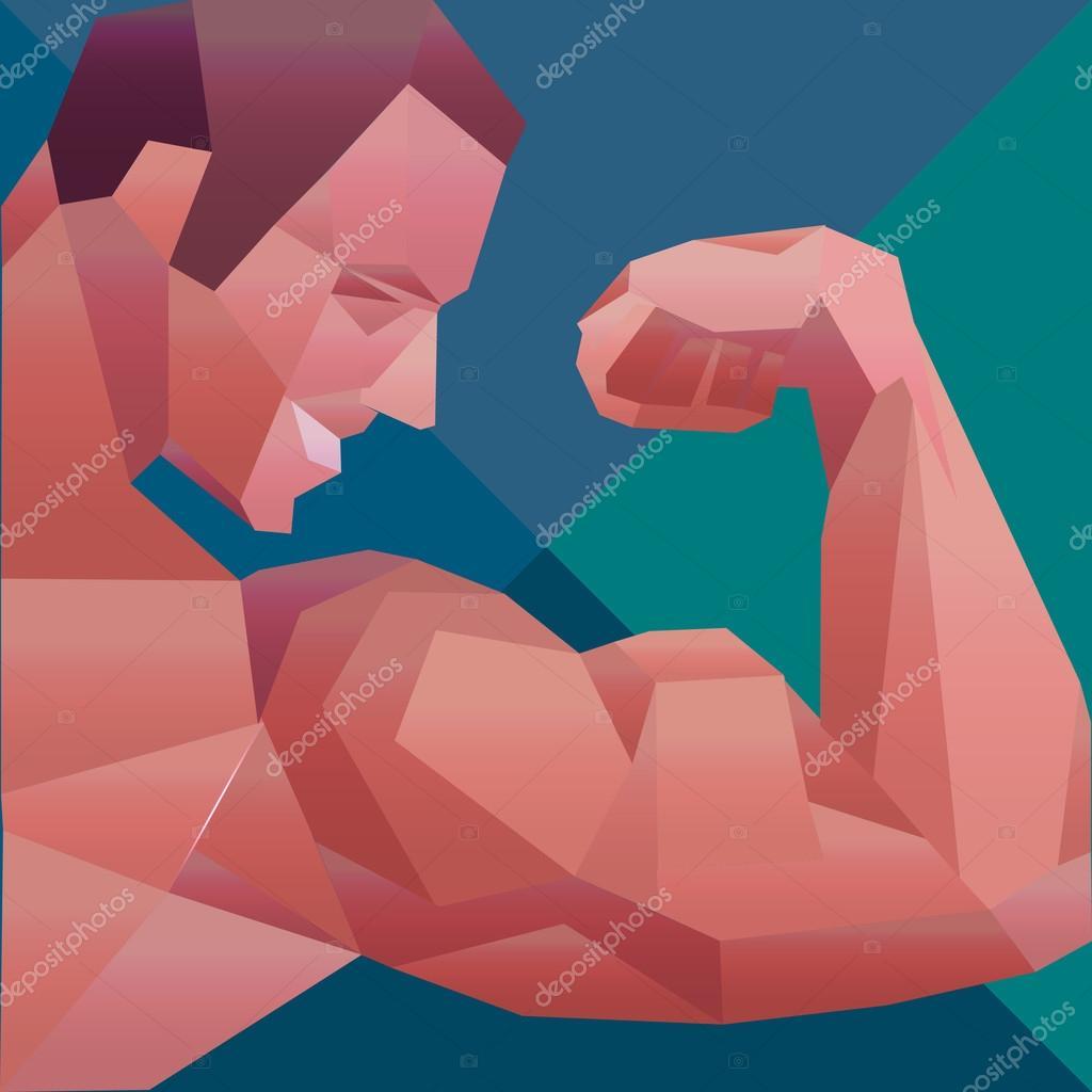 Polygonal colored vector bodybuilder logo. Sportsman shows his biceps.