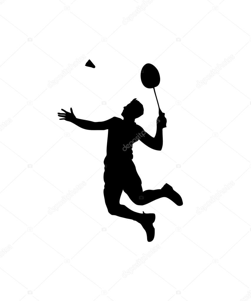 Silhouette of professional badminton player. Smash shot