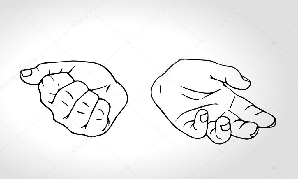 Two hands with open fist and close fist. Soncept of choice. Squeezed in a fist.