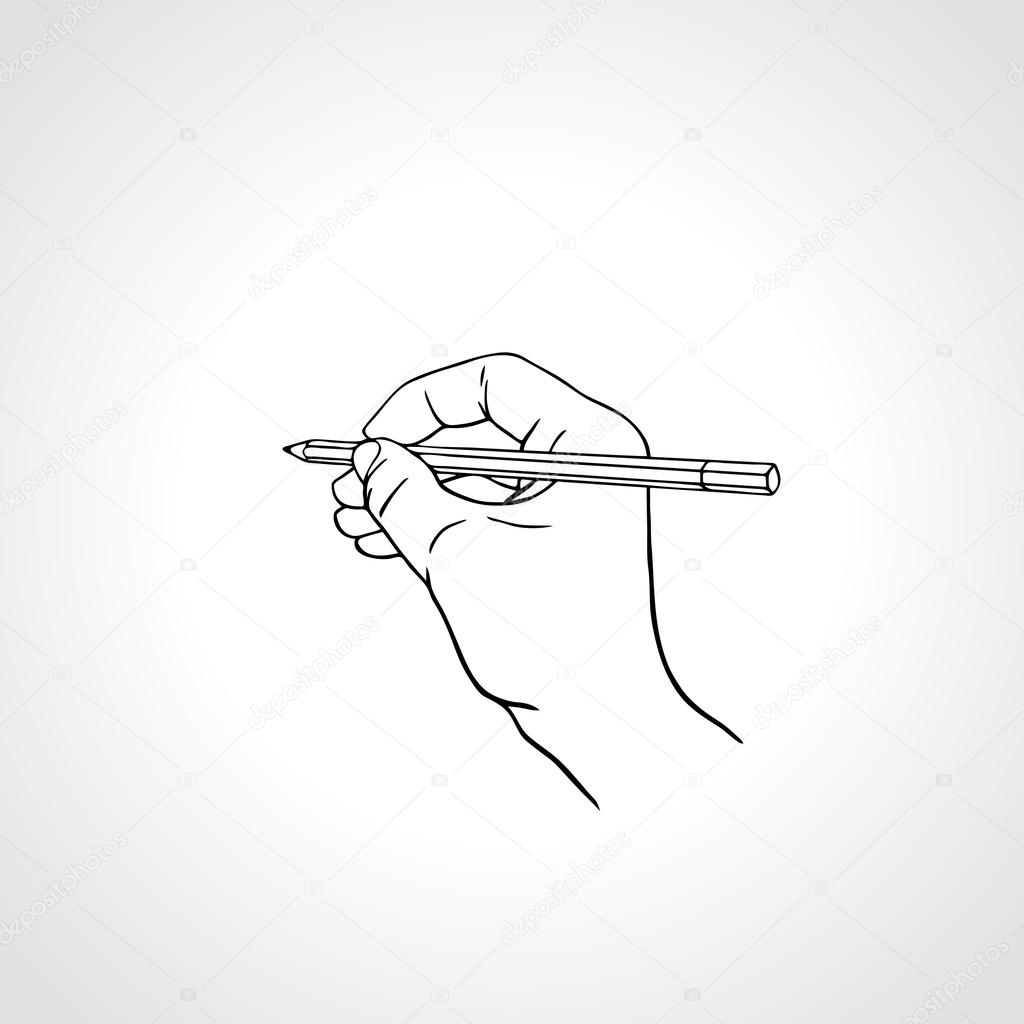 Outline hand writing with a pencil. Vector illustration