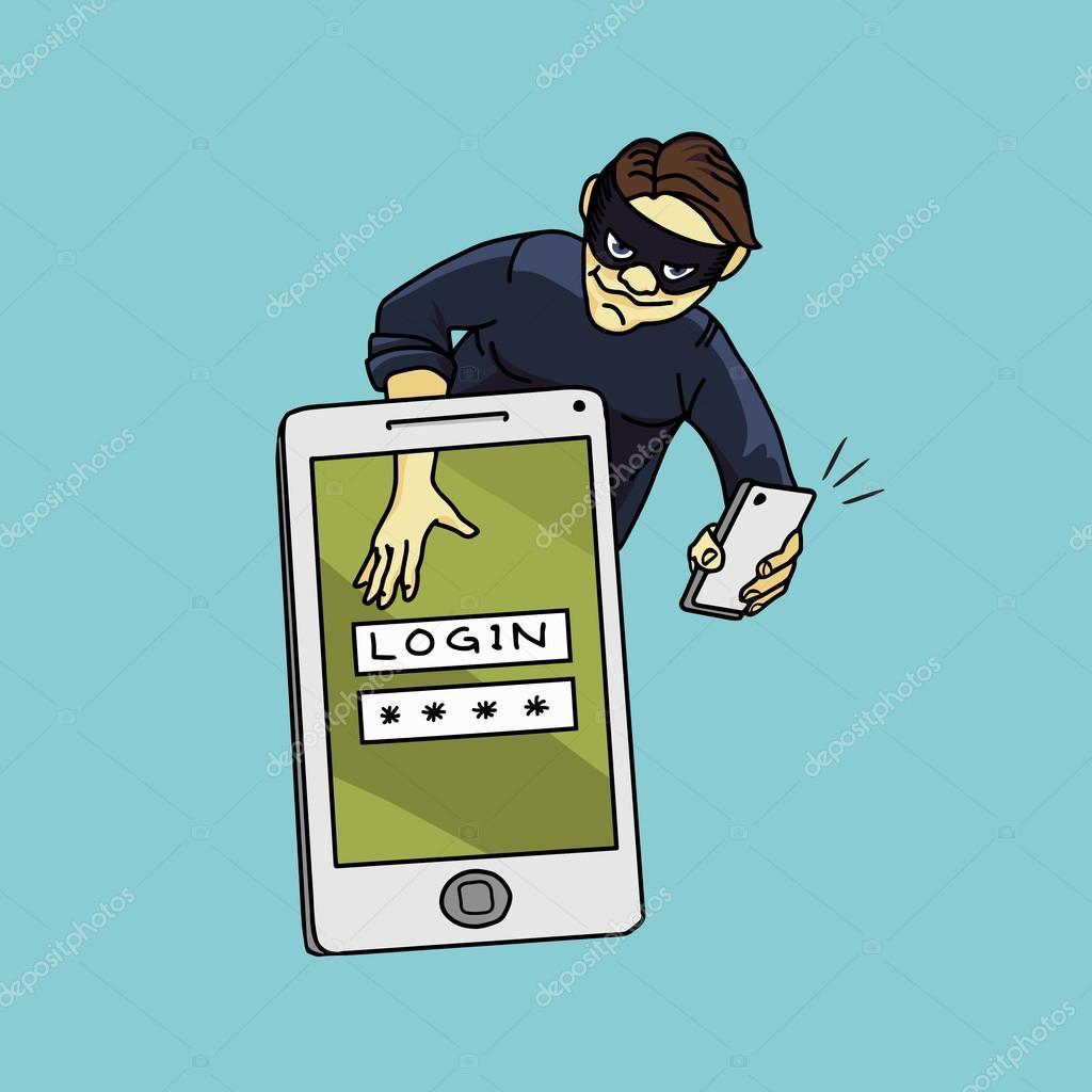 Social network hacker stealing password from smartphone screen, criminal on smart phone