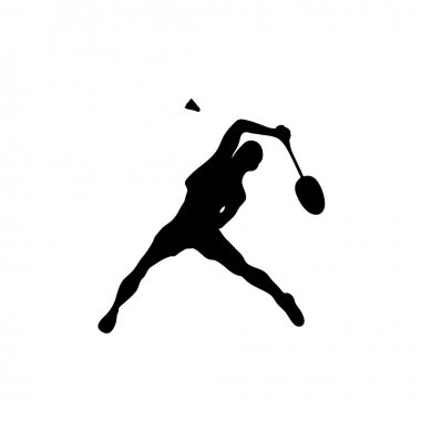 Silhouette of professional badminton player