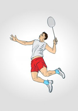 Professional badminton player. Colorful hand drawn character